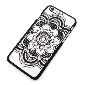 Beautiful Floral Henna Paisley Mandala Palace Flower Black Phone Back Bumper Cover Case For iPhone 5 5s 5C SE 6 6s 6 Plus 6s Plus