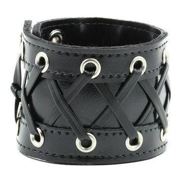 "3"" Wide Lace Up Corset Black PVC Patent Wristband Bracelet"