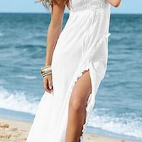 White Plunge Lace Detail Backless Ruffle Hem Cami Maxi Dress