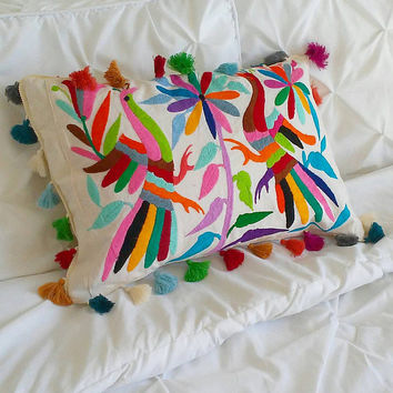 Otomi pillow shams Multicolor - Otomi pillow case - Otomi Pillow cover - hand embroidered Pom poms