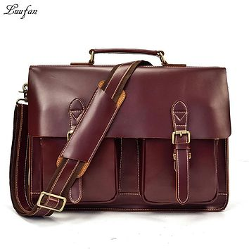 Men Briefcase Oil Wax Genuine Leather Handbag Cow Leather Messenger Bags Mens Laptop Business Office Crossbody Man bag