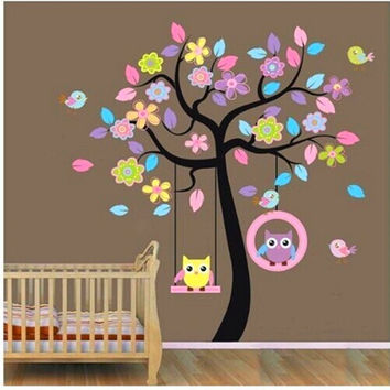 Owl Bird Tree Swing - Wall Stickers for Kids Rooms