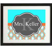 Instant digital download, Teacher door sign,Chevron, orange and turquoise, printable, teacher gift, Name, classroom sign, blue & orange