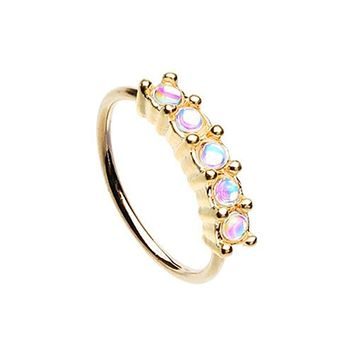 Rose Gold Illuminating Seamless Prong Set 5 Gem Bendable WildKlass Nose Hoop