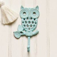 Cast Iron Owl Wall Hook, Choose your Color, Cast Iron Hooks, Wall Hooks, Owl Wall Hooks, Kitchen Decor, Wall Decor, Cast Iron Home Decor
