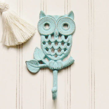 Cast Iron Owl Wall Hook, Choose Your Color, Cast Iron Hooks, Wall Hooks