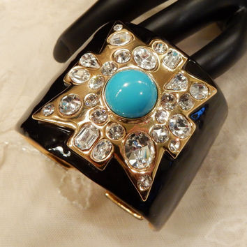 Beautiful Vintage KJL (Kenneth Jay Lane) Black  Enamel  with a Blue Acrylic Cabochon and Rhinestone Maltese Cross Cuff