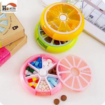 CUSHAWFAMILY Portable fruit style 7grid seal rotation Storage Cases Jewelry candy Storage Box Vitamin Medicine Pill Container