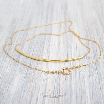 Long Gold Curved Bar Necklace - Gold Bar Necklace, Gold Filled Necklace, Gold Vermeil Necklace, Dainty Gold Necklace, Minimalist Jewelry