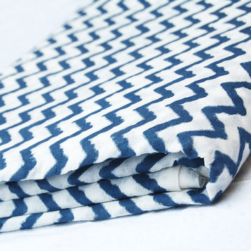 Zigzag Indigo Blue Traditional Hand Printed Cotton Fabric By The Yard White Bleached Pure Cotton Fabric Multi Purpose For Making Shirt/Dress