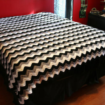 Black White And Gray Ripple Afghan By From Jenniscrochet