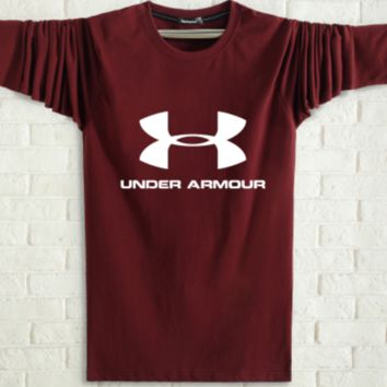 Under Armour Spring and autumn new fashion men and women letter print long sleeve tops Burgundy