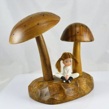 Wood Mushroom Display - Monkey Pod Carved Wood Mushrooms - Retro Mid Century Decor