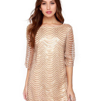 Wave Pattern Embellished Quarter Sleeves Cutout Detail Mini Dress
