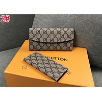 GUCCI New Fashionable Women Men Leather Buckle Purse Wallet Card Package Two Piece Set