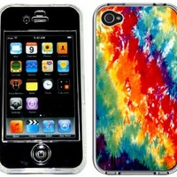 Tie Dye Hippy Hippie Print Pattern Handmade iPhone 4 and 4S Full Hard Plastic Case