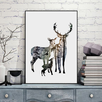 Silhouette of Deer Family with Pine Forest Canvas Art Print Painting Poster, Wall Picture for Home Decoration, Home Decor FA396