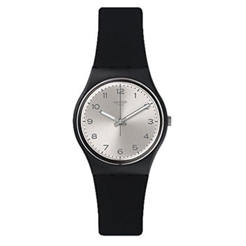 Swatch Friend Too Silver Dial Black Plastic Silicone Quartz Men's Watch GB287