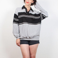 Vintage 80s Sweatshirt Gray Black Striped Sporty Boyfriend Sweater 1980s Sweatshirt Ribbed Collared Shirt Preppy Tshirt Jumper M L Large XL