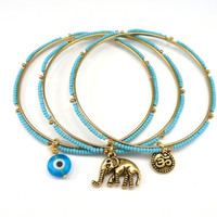 Beaded Bangle Set with Om, Evil Eye,and Elephant  Charms, yoga jewelry, boho chic jewelry