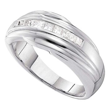 14kt White Gold Mens Princess Channel-set Diamond Single Row Wedding Band 1/2 Cttw - FREE Shipping (US/CAN)