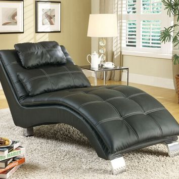 A.M.B. Furniture & Design :: Living room furniture :: Sofas and Sets :: Chaise loungers :: Black leather like vinyl upholstered tufted design chaise lounger with chrome legs