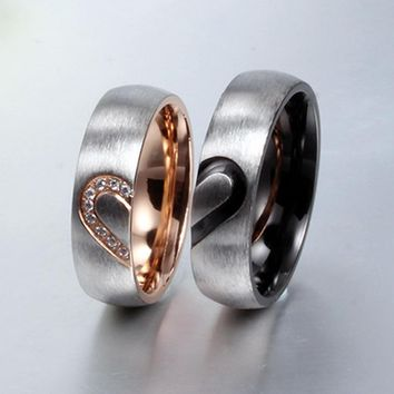 New Fashion Love Heart Couple Rings Wedding Engagement CZ Unique Fine Jewelry For Women Men