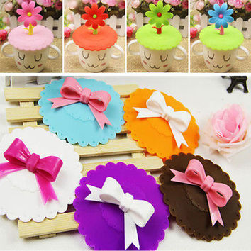 2PC Silicone Cup Lid Lace Bow Dustproof Reusable Water Drink Glass Mug Cup Cover Leakproof Suction Bowl Seal Kitchen Accessories