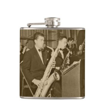 Vintage Photograh Big Band Sax Hip Flask
