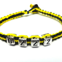 Black Friday Cyber Monday Sale - Bumblebee Bracelet, Black and Yellow Hemp Jewelry
