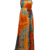 Tropical Color Sleeveless Braided Neckline Empire Maxi Dress
