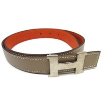 Auth Hermes Gray Orange Box Calf Leather Taurillon Reversible H Belt (DH44606)