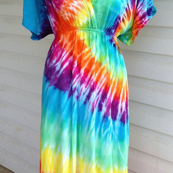 Tie-Dye Dress with Kimono Sleeves