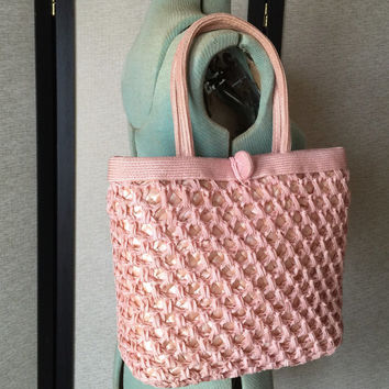 Woven Straw Handbag Peachy Pink Purse Tote Shopping Bag Made in Italy for Brandeis Vintage Fashion