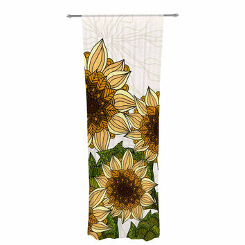 "Art Love Passion ""Sunflower Field"" Beige Yellow Decorative Sheer Curtain"