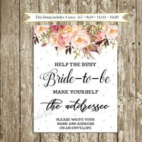 Help the busy Bride to be Printable INSTANT DOWNLOAD Bridal Shower Address Sign Blush Roses Floral Write your address on an Envelope sign