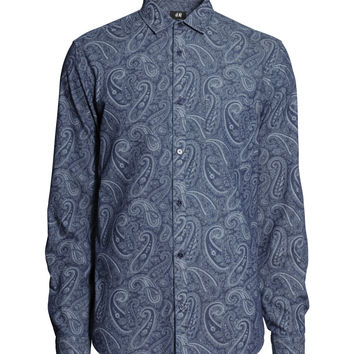 H&M - Paisley Shirt - Dark blue - Men