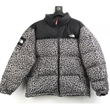 hcxx UA REPLICA SUPREME x NORTH FACE NUPTSE LEOPARD GREEN/yellow/silver COAT