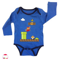 SALE baby super mario Onesuit by SugarBabyLove on Etsy