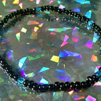 Black & Cerulean Blue Beaded Anklet Simple Stretchy Ankle Bracelet Boho Rocker Girl