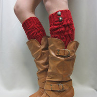 NEW Open crochet knit leg warmers RED womens leaf knit pattern  great with cowboy boots by Catherine Cole Studio legwarmers open work