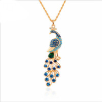 18K Gold Plated Peacock Rhinestone Pendant Necklace Long Chain Fashion Women Jewelry