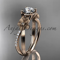 "14kt rose gold diamond leaf and vine wedding ring, engagement ring with a ""Forever One"" Moissanite center stone ADLR214"