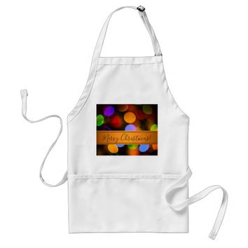 Multicolored Christmas lights. Add text or name. Adult Apron