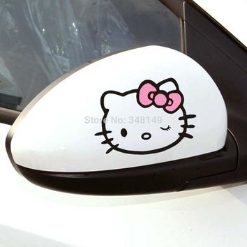 Aliauto 2 X Funny Car Accessories Hello Kitty Car Stickers and Decal for Ford Focus Volkswagen Polo Golf Opel Bmw Skoda Honda