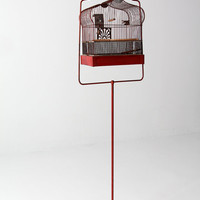 antique bird cage with stand, red Crown birdcage