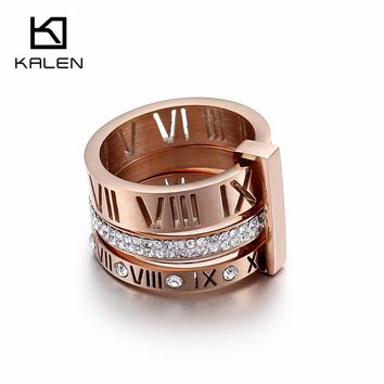 Kalen Rhinestone Rings For Women Stainless Steel Rose Gold Roman Numerals Finger Rings Femme Wedding Engagement Rings Jewelry