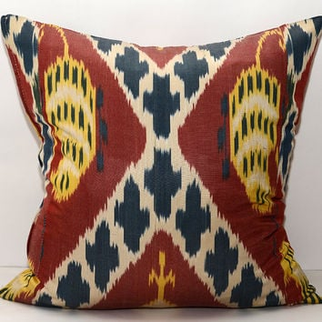 20x20 maroon ikat. red ikat. yellow ikat. ikat pillow cover. ikat cushion