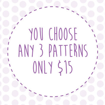 Any 3 Stuffed Plush Sewing Patterns for 15 Dollars - Stuffed Animal Sewing Pattern Pack