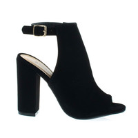 Encounter69m Black by Bamboo, Block Heel Ankle Bootie Open Back, Peep Toe Sandal